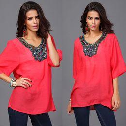 Wholesale Gaun musim panas fashion wanita bordir baju Plus ukuran perempuan pakaian bohemian Gadis merek gaun kasual L XL XXL XL