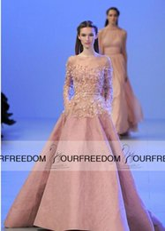 Wholesale Elie Saab Long Sleeve Evening Gowns Haute Couture Sheer Illusion Neck Artificial Flowers Blush Taffeta A Line Wedding Dresses Church