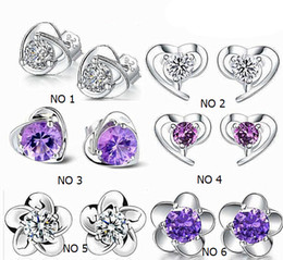 925 Sterling Silver Heart Shaped Stud Earrings With Zircon Stud Earrings for Women 6 Designs Ear Stud Earring KY