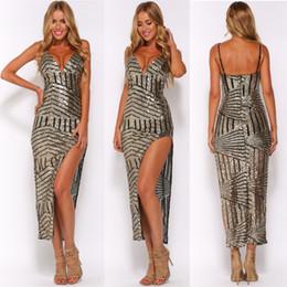 Womens Dresses Sequins Split Evening Dresses Backless Prom Dresses Shoulder Straps Dresses Evening Wear