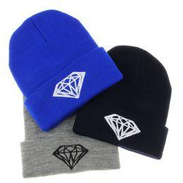 Wholesale-new diamond 2015 beanie winter sports hat rolled hem hip-hop cap wool beanie hat