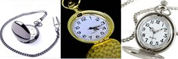 Wholesale Mix Colors Quartz watches Necklace Chain Bronze pocket watches PW041