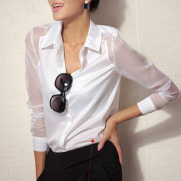 2014 New Hot Sale Women Blouses Full Sleeve Fashion Organza Sexy Work Wear Chiffon Blouse Blusas Femininas Free Shipping WCX348