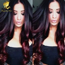 Ombre Burgundy Full Lace Wig Malaysian Wavy Human Hair Wigs Two Tone Color Lace Front Wigs Bleached Knots