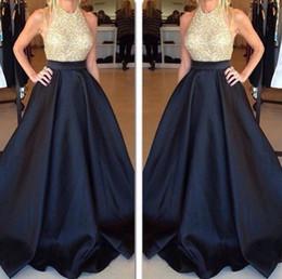 Gold Sequin Black Modest Evening Dresses Sexy Back halter Floor Length Draped Satin Vestidos de Festa Party Prom Dresses 2015