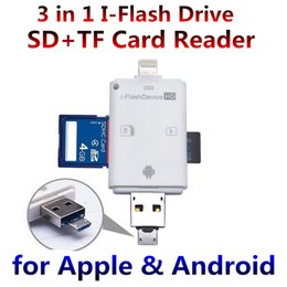 Wholesale 3 in iFlash Drive HD USB Micro SD SDHC TF OTG Card Reader for iPhone s plus ipad ios Device for All Android Mobile phone PDA Laptop