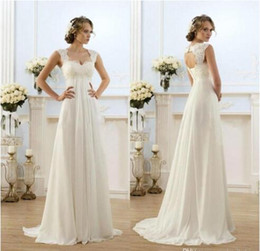 Cheap Sexy Beach Empire Plus Size Maternity Wedding Dresses Cap Sleeve Keyhole Lace Up Backless Chiffon Summer Pregnant Bridal Gowns