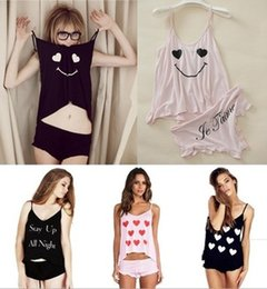 Wholesale Cute Sexy Pajamas For Women - 2014 Spring and Summer Womens Ladies Sleepwear Suits Pajamas Girl Printing Smiling Face Cute Sexy Homewear For Women