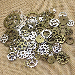 Wholesale-Wholesale Mix 100 pcs Vintage steampunk Charms Gear Pendant two color Fit Bracelets necklace T0484