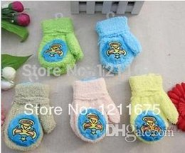 Wholesale-Free Shipping! 3PAIRS LOT Hot selling Baby Gloves Full Fingers Halter-neck Thermal Carton Gloves