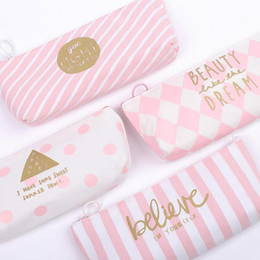 Sentimental girl style pencil case Canvas 20*9cm stationery phone bag Office and school supplies multifunction pencil bag