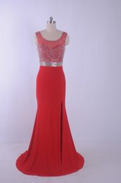 2015 Red Long Mermaid Prom Dresses with beaded Real Picture side Splite Sexy Vestidos de Festa Back Hollow Chiffon Beading Party Dress