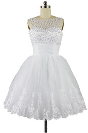 2015 New Scoop A Line Short Wedding Dress Pearls Tulle Sleeveless Lace Little White Dress Bridal Gown In Stock Size 2 4 6 8 10 12 14 16