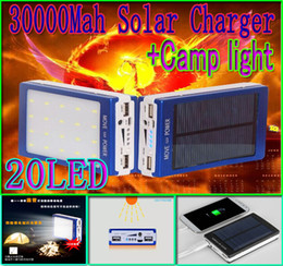 Wholesale 30000mah solar camping light charger led mah power bank led camp lights Dual USB battery energy chargers SOS help For Mobile