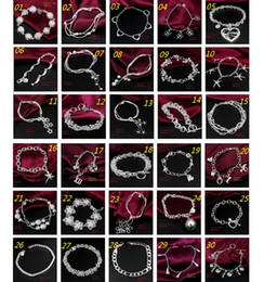 Wholesale 30PCS Mix Order Sterling Silver Plated Fashion Link Chain Bracelets Jewelry