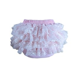 Wholesale-20pcs lot New Fashion Pettiskirt Pants Baby Girls Lace Ruffles Bloomer Baby Girl's Ruffle Shorts