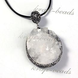 Charms Silver Plated Natural Druzy Quartz Rock Crystal Inlay Rhinestone Quartz Reiki Stone Random In Shape Pendant Jewelry