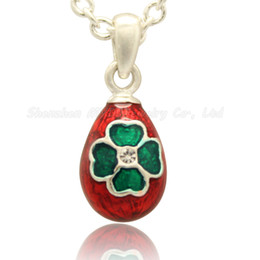 Four Leaf Clover Flower Silver Gold Plating Peace Dove Faberge Egg Pendant Russian Egg Pendant Necklace for Ladies' Easter Day