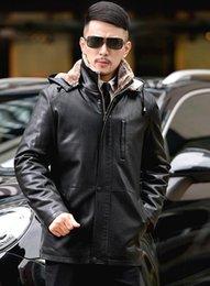 Promotion lignes de capot Automne-Hiver Livraison gratuite chaud longtemps Hommes Veste en cuir amovible Casual Fur Coat Biker Jacket Outwear doublure en fourrure MASCULINE capot Hommes