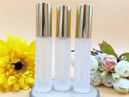 Wholesale 100pcs Empty ml roll on perfume bottle and buy new stripes frosted glass roller go bead bottles ball ml
