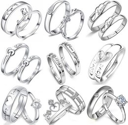 Austrian Zircon Wedding Rings 12 Styles Variety Opening Crystal Couple Rings 30% 925 Sterling Silver 3 layer White Gold Plating Women Gift