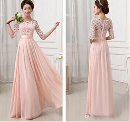 Elegant Women Lace Flower Hollow Out Chiffon Maxi Bridesmaid Dress Long Gown Dress Evening Dresses lace Half Sleeves