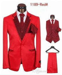 Top selling free shipping men's wedding dress tuxedos for men five pieces black coffee red one button On formal occasions