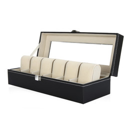 Wholesale 6 Grid Leather Watch Display Case Jewelry Collection Storage Organizer Box Holder H9625
