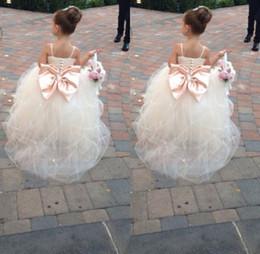 Wholesale Pageant Dresses For Girls Spaghetti Sleeveless Flower Girl Dresses White Ivory Champagne Kids Ball Gowns Wedding Dress Sash Beading Belt