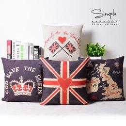 Wholesale London pillow case love pillowcase union jack English map crown throw pillow case pillow cover