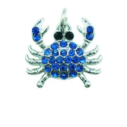 Wholesale High Quantity Fashion Charms s Alloy Clasp Color Rhinestone Animals Crab Charms Pendants DIY Accessories Jewelry