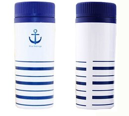 Wholesale Mug cm coffee mug Plastic material Water cup White anchor pattern healthy Sports cup Q navy style
