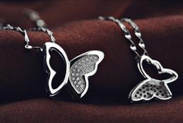 2017 pendentifs en argent Pendentif en argent 925 Colliers Femme épaule Zircon papillon Charms Bijoux Collier WH budget pendentifs en argent