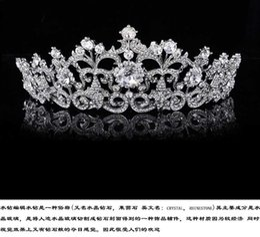 Wholesale Silver Tiaras Crowns Bridal Korea Head Wedding Hair Pieces Flower Crown Jewelry Headpiece Rhinestones Crystal Real Image