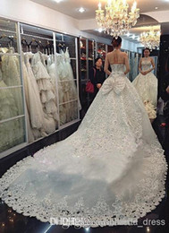 2015 Wedding Dresses A Line white A-line Ruffles high neck Strapless Crystal Wedding Dresses Beautiful stunning Bridal Dresses Ball Gown