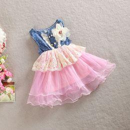 Vintage summer girls denim lace yarn princess dress with big flower girls dresses party dress kids princess dress A08