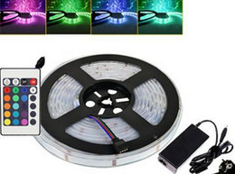 5m 12V RGB LED Flexible Strip Light Waterproof IP67 SMD 5050 Strips 300 LEDS Lighting Rope 12 Volt Strips with 24Keys Remote 6A Power Supply
