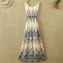 Women Ladies Maxi Dress Chiffon Sleeveless Girl Dresses Vintage Long Sundress Casual Dress SV05 SV009736