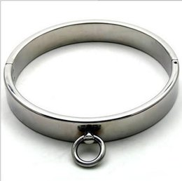 Anillo de metal espejo en venta-Collar de metal Bondage Restringir cromado Espejo Collar de acero para trabajo pesado collares masculino del anillo del cuello grueso hierro pulido de bloqueo