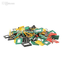 Wholesale-100Pcs Plastic Keychain Key Tags 5 Style ID Label Name Key Tags Split Ring F#OS