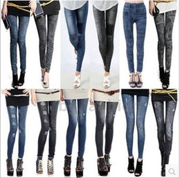 Wholesale DHL Free Leggings for Women Leggings Jeans Cheap Ripped Denim Spandex Graffiti Printed Legging New Women Leggings clothes