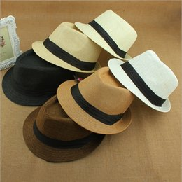 Wholesale Panama Straw men Hats Fedora Soft Vogue Men and Women Stingy Brim sun Caps Colors Choose