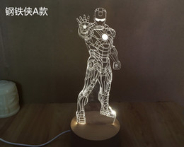 4Pieces lot 3D rechargeable Avengers Iron Man Model LED Night Light USB 3D LED Wooden Mood Lamp For Christmas Gifts