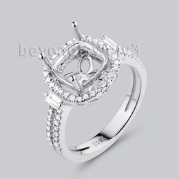 Wholesale Beyond Jewelry X8mm Cushion Cut Engagement Ring Settings In K White Gold Natural Diamond G090795