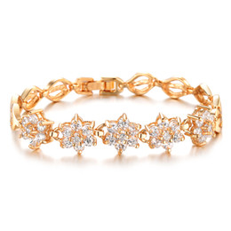Hot Sell Classic Vintage 18K Gold Plated Flower Crystal Bracelets