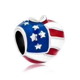 Wholesale Metal Jewelry America Usa Flag Heart Love Charms Enamel European Flag Bead Fits for Fashion Women Bracelets