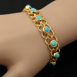 Turquoise Bracelets Bangles Quality 18K Real Gold Plated Blue Turkey Stone Link Chain Bracelets Women Jewelry Wholesale H341