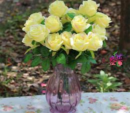 "HOT Silk Rose Bunch (10 heads piece) 48cm 18.89"" Length Artificial Flowers Roses Camellia for DIY Bridal Bouquet Wedding Centerpiece"