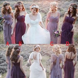 Fantastic A-line Floor-length Tulle Convertible Bridesmaid Dress Tie To Many Different Styles
