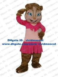 Wholesale Beautiful Brown Brittany Alvin And The Chipmunks Chipmunk Chipmuck Mascot Costume With Pink Skirt Long Eyelash Blue Eyes No